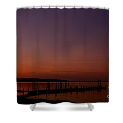 The Sun Sets Over The Water Shower Curtain by Clayton Bruster