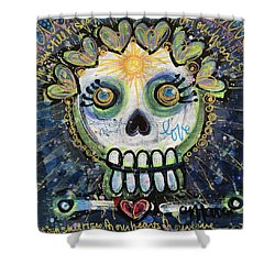 Shower Curtain featuring the painting The Sun Still Shines For Our Hearts by Laurie Maves ART