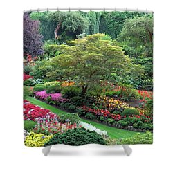 The Sunken Garden At Dusk Shower Curtain by Betty Buller Whitehead