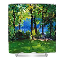 The Sunny Side Of A Pond Shower Curtain