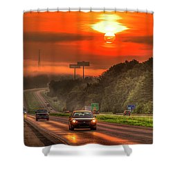 The Sunrise Commute Georgia Interstate 20 Art Shower Curtain