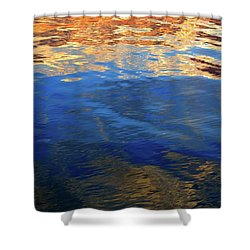 The Surface Is A Reflection  Shower Curtain by Lyle Crump