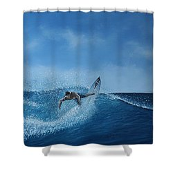 The Surfer Shower Curtain by Paul Newcastle