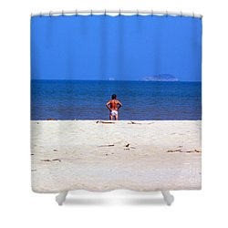 Shower Curtain featuring the photograph The Swimmer by Ethna Gillespie