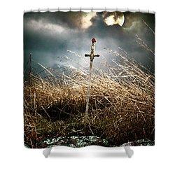 Sword Under A Full Moon Shower Curtain