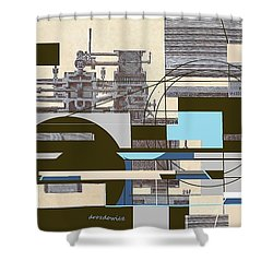 Shower Curtain featuring the mixed media The System by Andrew Drozdowicz
