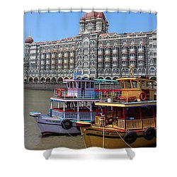 The Taj Palace Hotel And Boats, Mumbai Shower Curtain by Jennifer Mazzucco