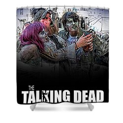 Shower Curtain featuring the digital art The Talking Dead by John Haldane