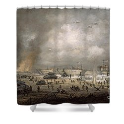 The Tanks Go In - Sword Beach  Shower Curtain by Richard Willis
