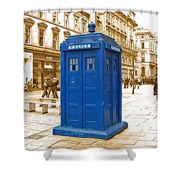 The Tardis Shower Curtain by Rob Hawkins