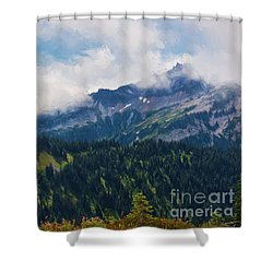 The Tatoosh Painted Shower Curtain by Sharon Seaward