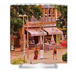 Shower Curtain featuring the photograph The Tavern On The Plaza - Spain by Mary Machare