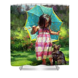 Shower Curtain featuring the painting The Teal Umbrella by Steve Henderson