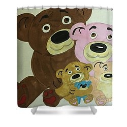 The Teddy Family  Shower Curtain