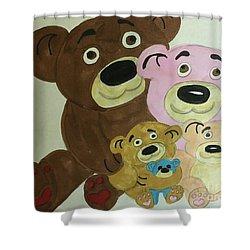 The Teddy Family  Shower Curtain