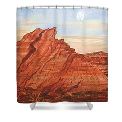 Shower Curtain featuring the painting The Teepees by Ellen Levinson