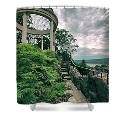 The Temple Walkway Shower Curtain by Jessica Jenney