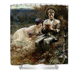 The Temptation Of Sir Percival Shower Curtain by Arthur Hacker