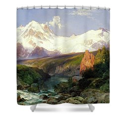 Shower Curtain featuring the painting The Teton Range Painting By Thomas Moran                               by Thomas Moran