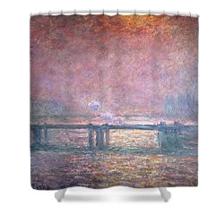 The Thames At Charing Cross Shower Curtain by Claude Monet