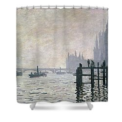 The Thames Below Westminster Shower Curtain by Claude Monet