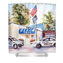 The Thin Blue Line Shower Curtain by Kip DeVore