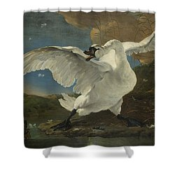 The Threatened Swan, 1650 Shower Curtain
