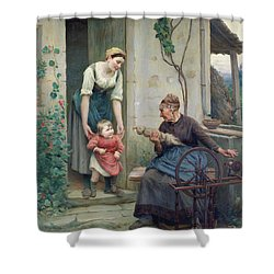 The Three Ages Shower Curtain by Jules Scalbert