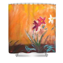 Shower Curtain featuring the painting The Three Daisies by Winsome Gunning