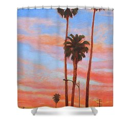 Shower Curtain featuring the painting The Three Palms by Andrew Danielsen
