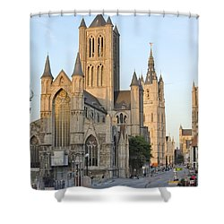 The Three Towers Of Gent Shower Curtain by Marilyn Dunlap