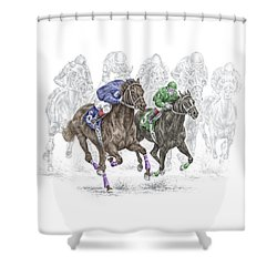 The Thunder Of Hooves - Horse Racing Print Color Shower Curtain