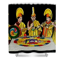 The Tibetan Monks At Lilydale Assembly Shower Curtain by Albert Puskaric