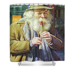 The Tin Whistle Shower Curtain by Conor McGuire