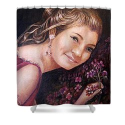 Shower Curtain featuring the painting The Topaz Earring by Patricia Schneider Mitchell