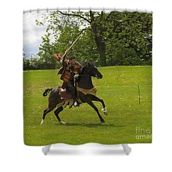 The Toss A Squire Throws A Javelin From Horseback Shower Curtain by Louise Heusinkveld