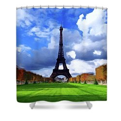 Shower Curtain featuring the painting The Tower Paris by David Dehner