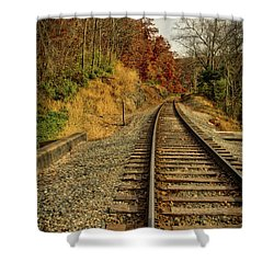 Shower Curtain featuring the photograph The Tracks In The Fall by Mark Dodd