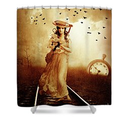 The Train Never Came Shower Curtain by KaFra Art