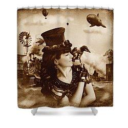 The Traveler Vintage Sepia Version Shower Curtain by Alessandro Della Pietra