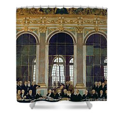 The Treaty Of Versailles Shower Curtain by Sir William Orpen