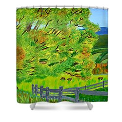 Shower Curtain featuring the painting The Tree Of Joy by Magdalena Frohnsdorff