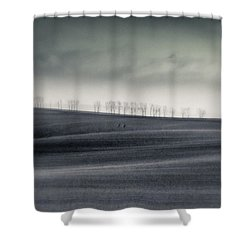 The Trees On The Horizon  #monochrome Shower Curtain by Mandy Tabatt