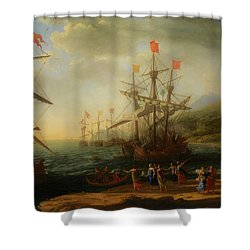 Shower Curtain featuring the painting The Trojan Women Setting Fire To The Fleet by Claude Lorrain