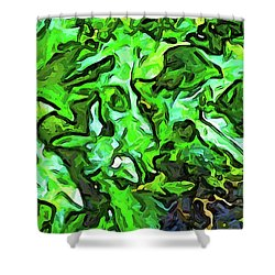 The Tropical Green Leaves With The Wings Shower Curtain