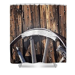The True Broken Spokes Shower Curtain by John Glass