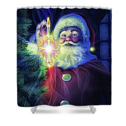 Shower Curtain featuring the painting The True Spirit Of Christmas - Bright by Dave Luebbert