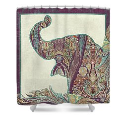 Shower Curtain featuring the painting The Trumpet - Elephant Kashmir Patterned Boho Tribal by Audrey Jeanne Roberts