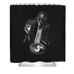 The Trumpet Player Shower Curtain