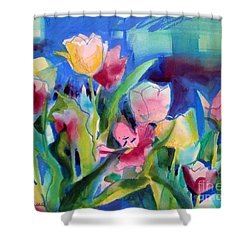 The Tulips Bed Rock Shower Curtain by Kathy Braud